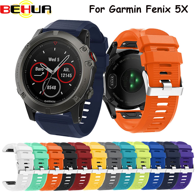 Sport Silicone watch band Strap Watchband bracelet band for Garmin Silicone Band for Garmin Fenix 5X Fenix5X strap wristband