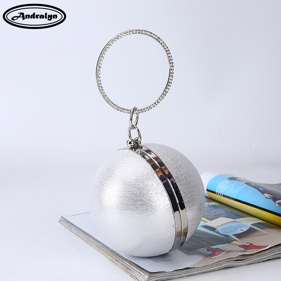 Andralyn Women Pearl Ball Evening Bags Earth Round Ball Diamond Clutch Purse Clutches Bridal Wedding Clutch Purse Hand Bags