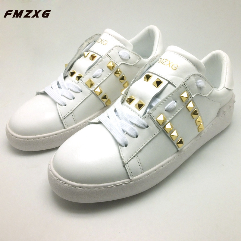 FMZXG Women Rivet Shoes Fashion Casual Genuine Leather Spring/Autumn Sneakers Women Flat Summer Comfort Round Toe Shoes 2018 spring street flat genuine leather rivet women shoes high quality punk style hip hop round toe buckle high top sneakers