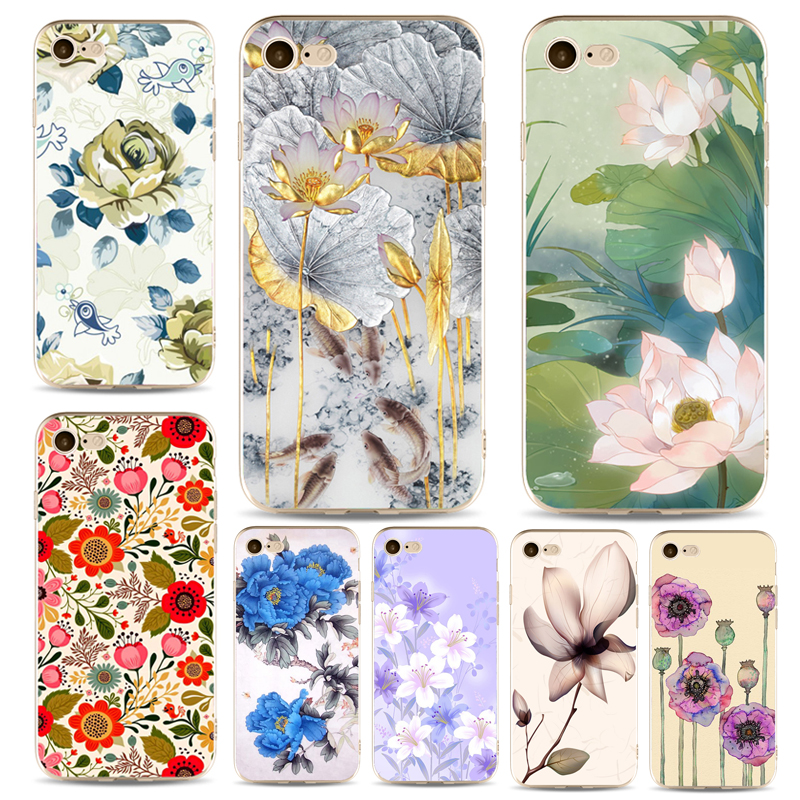 Painting Phone Cases For Iphone 6 6s 6Plus 7 7s 7plus Soft Clear TPU Silicon Ultra-Thin Blue Red Pink Flowers Phone Cover Case