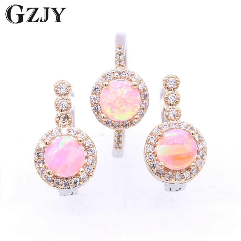GZJY Beautiful Round Charming Fire Opal & Zircon Double Gold Color Ring Earrings Set For Women Fashion Wedding Party Jewelry charming solid color footprint cuff ring for women