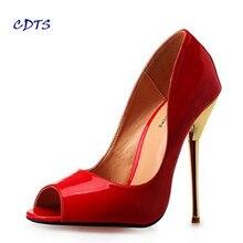 CDTSบวก: 40-45 46 47 48 49 50เซ็กซี่รองเท้าแตะแบรนด์รองเท้าส้นเข็ม14เซนติเมตรรองเท้าส้นสูงบางเปลือยรองเท้าแต่งงานC Rossdressคลับสีแดงปั๊ม