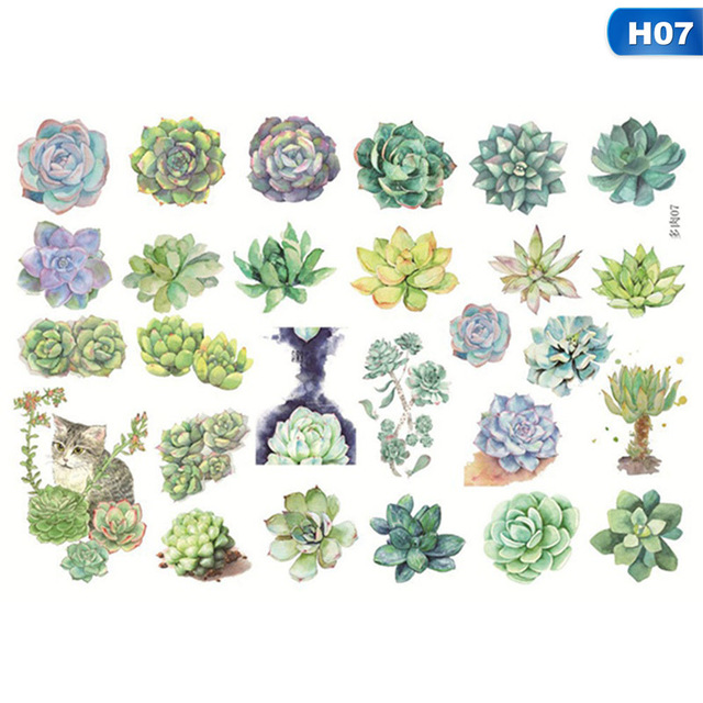 Adhesive Flower Cute Cactus Paper Stickers