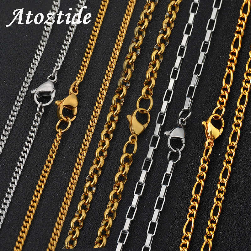 1pcs 60cm Curb Cuban Stainless Steel Men's Chain Necklace Minimalist Figaro/Side/Bead Square Rolo Bamboo Chain Jewelry Findings