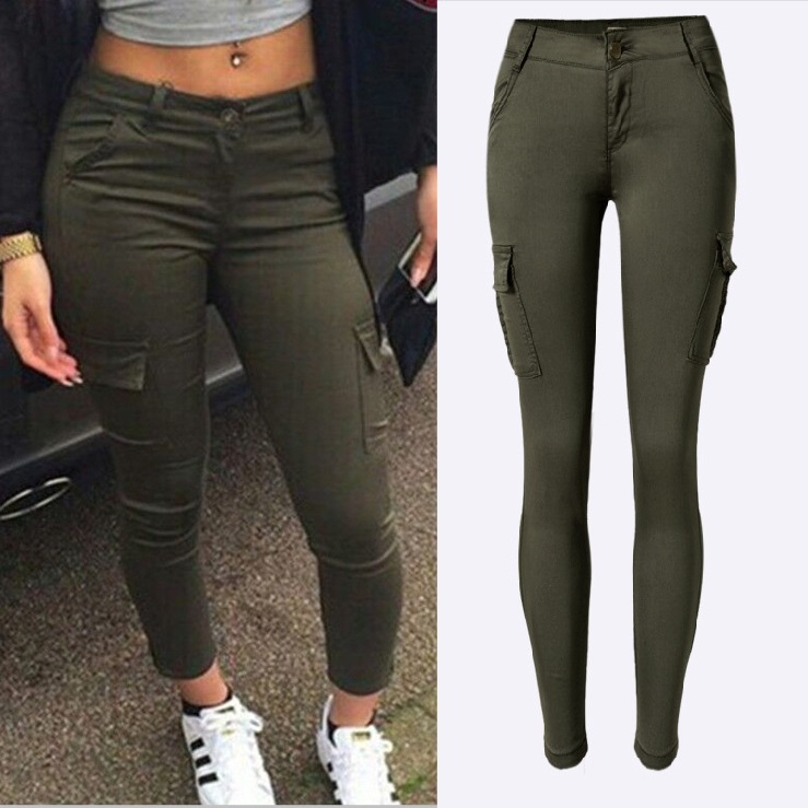 Fashion Army Green Jeans Kvinner Sexy Low Rise Ladies Skinny Jeans Slim Femme Plus Størrelse