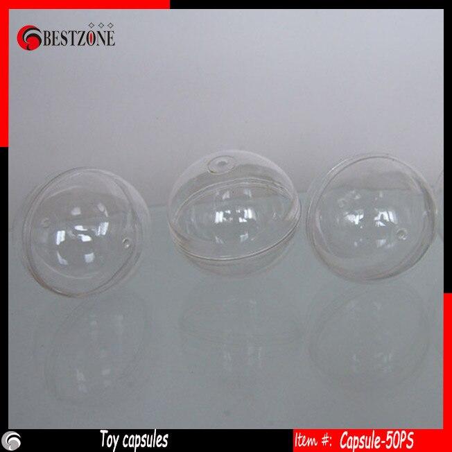 Boule en plastique de beauté de 50mm boules rondes souples transparentes enfants capsules en plastique vides pour les jouets en plein air-in Petites balles from Jeux et loisirs    1