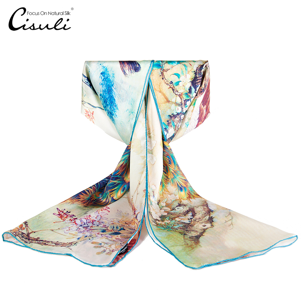 Scarf Women Foulard Femme Printed Shawl 100% Natural Silk Scarf For Women New Desigual 52X170cm