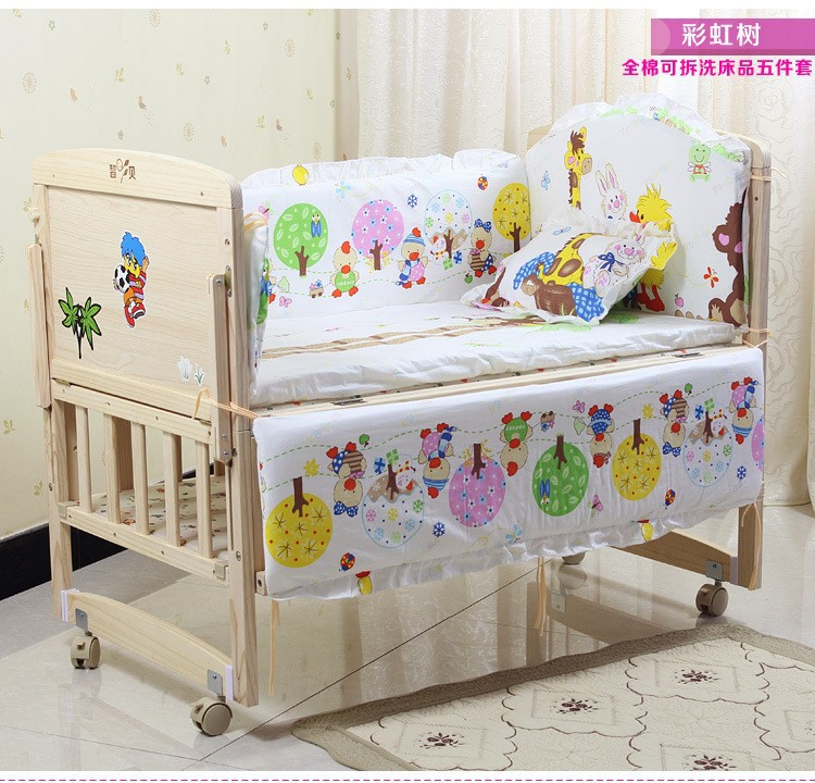 Promotion! 7pcs Crib Bedding Baby Bedding Cotton Crib Bedding Set for Girls Reactive Printing (bumper+duvet+matress+pillow)