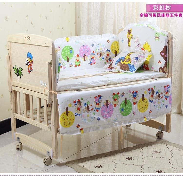 Promotion! 7pcs Crib Bedding Baby Bedding Cotton Crib Bedding Set for Girls Reactive Printing (bumper+duvet+matress+pillow)