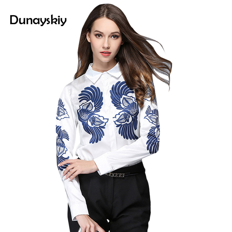 492d7823363 Новая мода белая рубашка Для женщин женские офисные топы и блузка с принтом женские  отложным воротником