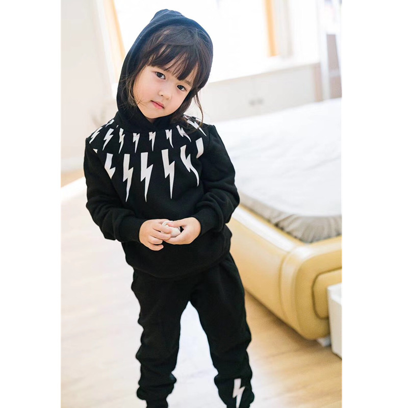kids sports suit hooded sweatshirt +pants varsity striped hooded sweatshirt
