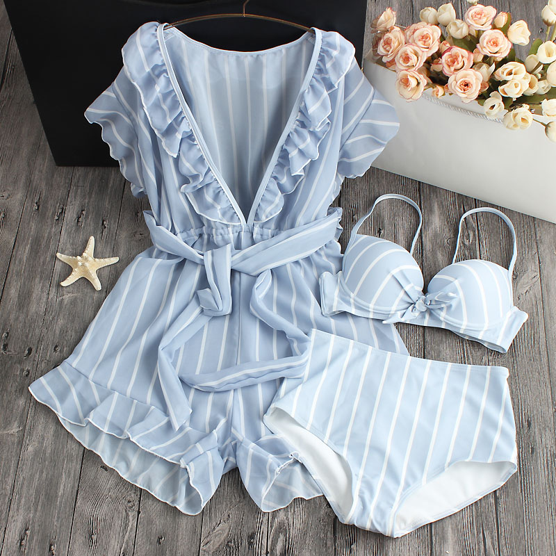 Bikini New Striped Print 2018 Bikini Women Dress Swimsuit Straps Swimsuit Summer Beach Female Sexy Swimwear striped print color block cami dress