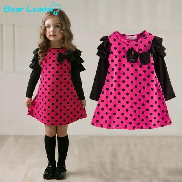 Лидер медведь Новый 2016 осень/весна дети одежда девочек горошек платье с длинными рукавами дети девушки платье принцессы детская одежда