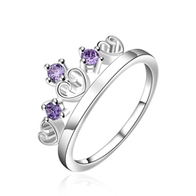 MEGREZEN Silver Crystal Ring Crown Design Costume Jewelry Women'S Wedding Rings With Big Stones Anelli Donna Bijouterie SR536