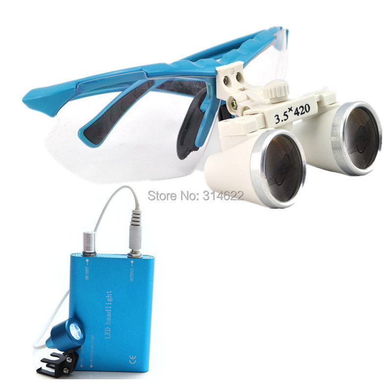 New Style 3.5X 420mm surgical binocular dental loupes with LED Head Light Lamp Freeshipping blue ce new 3 5x blue dental surgical binocular loupe 420mm led head light lamp