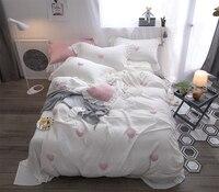 Белый розовый серый 100% хлопок Мягкий простыня льняная наволочка постельное белье милый Постельное белье queen King size девушки кровать комплект