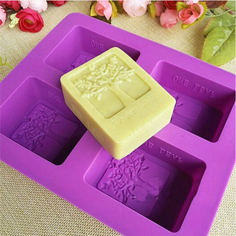 Purple Rectangle Silicone Mold Tree Shaped  4 Hole Square Soap Mold Arts And Crafts Chocolate Cake Molding Hand Making Tools
