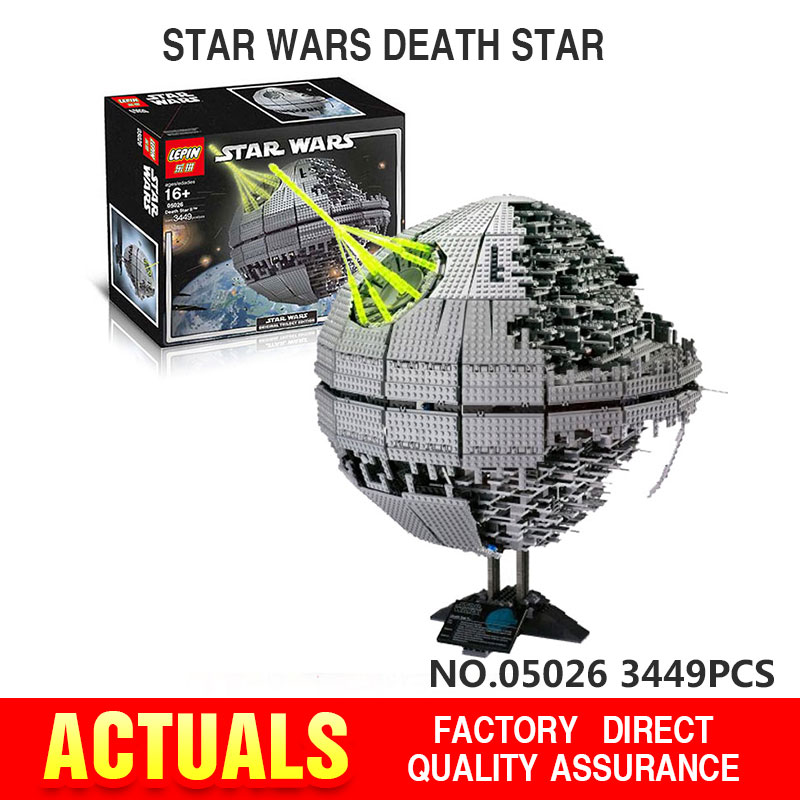 IN STOCK 3449pcs LEPIN 05026 Star Wars Death Star Building Block Bricks Toys Kits  Compatible with 10188 Child Gift lepin 22001 pirate ship imperial warships model building block briks toys gift 1717pcs compatible legoed 10210
