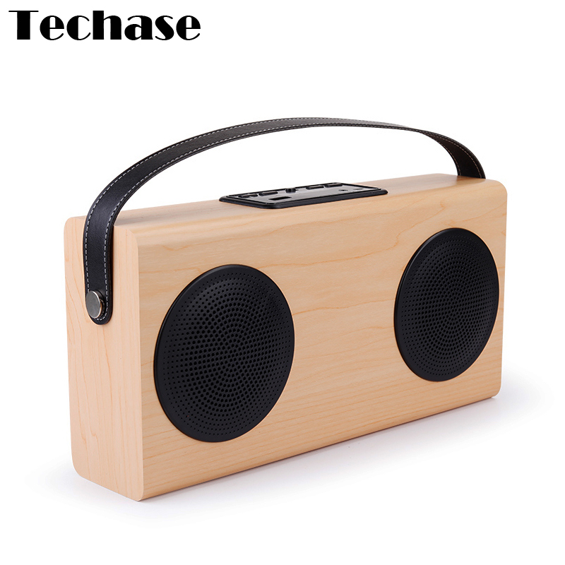 wooden bluetooth speaker techase wireless portable speakers radio fm caixa de som mp3 player. Black Bedroom Furniture Sets. Home Design Ideas
