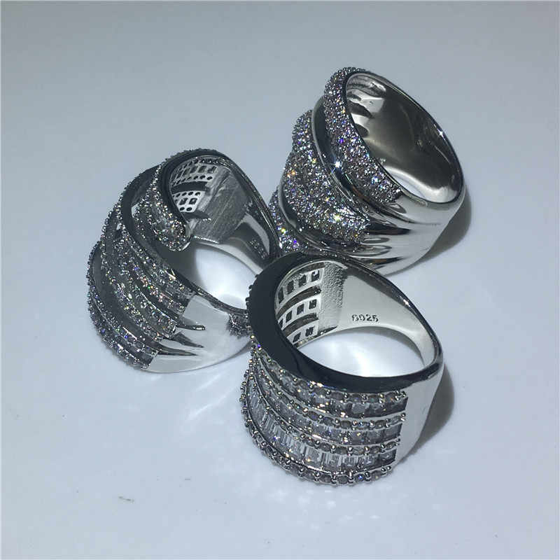 Choucong 3 รูปแบบใหญ่แหวน 925 เงินสเตอร์ลิง AAAAA Zircon แหวนหมั้นแหวนผู้หญิงผู้ชายเครื่องประดับ