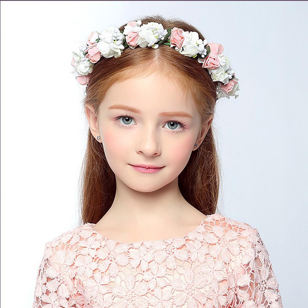 1 Pcs Wedding Headwear Bohemia Flower Hairband Children Girls Crown Floral Headband Party Festival Hair Band Accessories 10pcs lot high quality chiffon flower hairband headband alice band for kids girls handmade headband children hair accessories