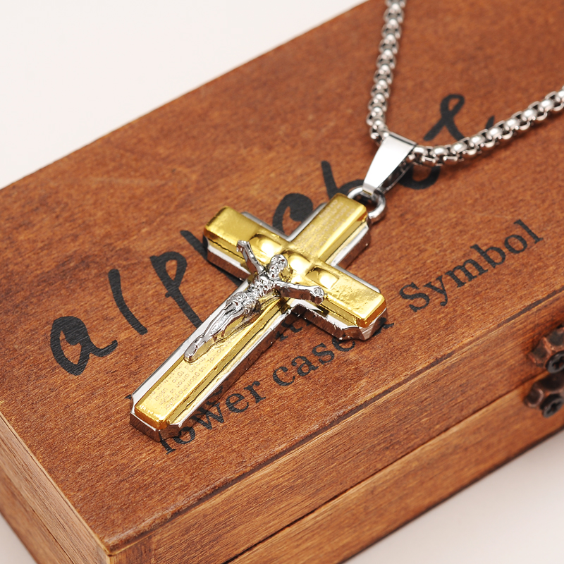 614fd1972f Two Tone Silver Gold Color Jewelry Antique Cross Crucifix Jesus Cross  Pendant Necklaces men boys jewelry boyfriend gift diy -in Pendants from  Jewelry ...
