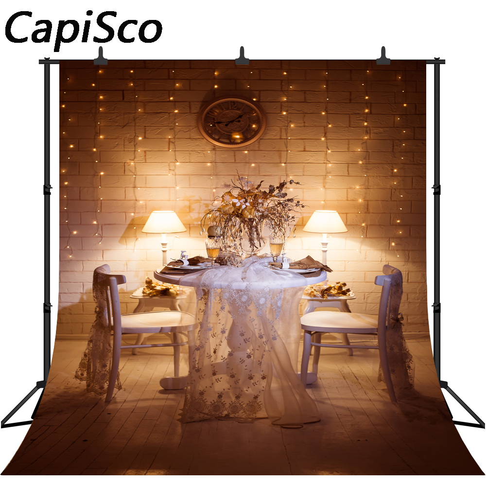 Us 7 55 46 Off Capisco Brick Wall Light Bulb Table Flower Dinner Night Indoor Scenic Photo Backgrounds Photography Backdrops For Studio In