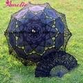 New Lace Umbrella e ventilador artesanais de algodão bordado Battenburg Lace Parasol Umbrella casamento decorações