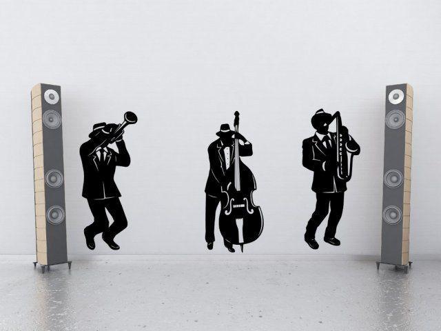 MM7 Jazz Band Silhouette Large Wall Decor Vinyl Wall Sticker Music Art Mural Wallpaper Home Decal Wall Poster Home Decor