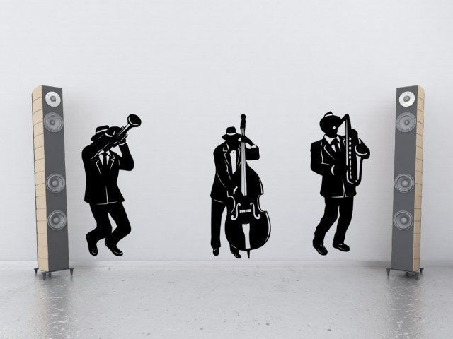 Mm7 jazz band siluet besar wall decor vinyl wall sticker musik art mural wallpaper rumah decal dinding poster dekorasi rumah di wall stickers dari rumah
