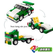 Legoing City Car Toys Creator Moc Big Bricks Set Green Mini Racing Car 3IN1 DIY Building Blocks Model Baby Gift Legoings Technic(China)