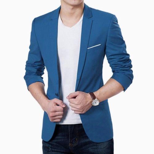 Suit Jacket Coat Blazers Slim-Fit Wedding Blue Male Korean Mens Plus-Size Fashion To