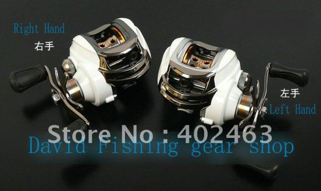 Bait baitcasting fishing reel Left hand Arctic Fox 10+1RB  White Color  One Spare Spool 210g  6.3:1