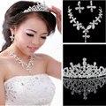 Borboleta flor Waterdrop prata Diamante de cristal de noiva 3 pcs Set colar brincos conjunto de jóias de casamento Tiaras e coroas