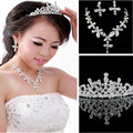 Bridal Butterfly Flower Waterdrop Silver Diamante Crystal Bride 3pcs Set Necklace Earrings Tiaras and Crowns Wedding Jewelry Set
