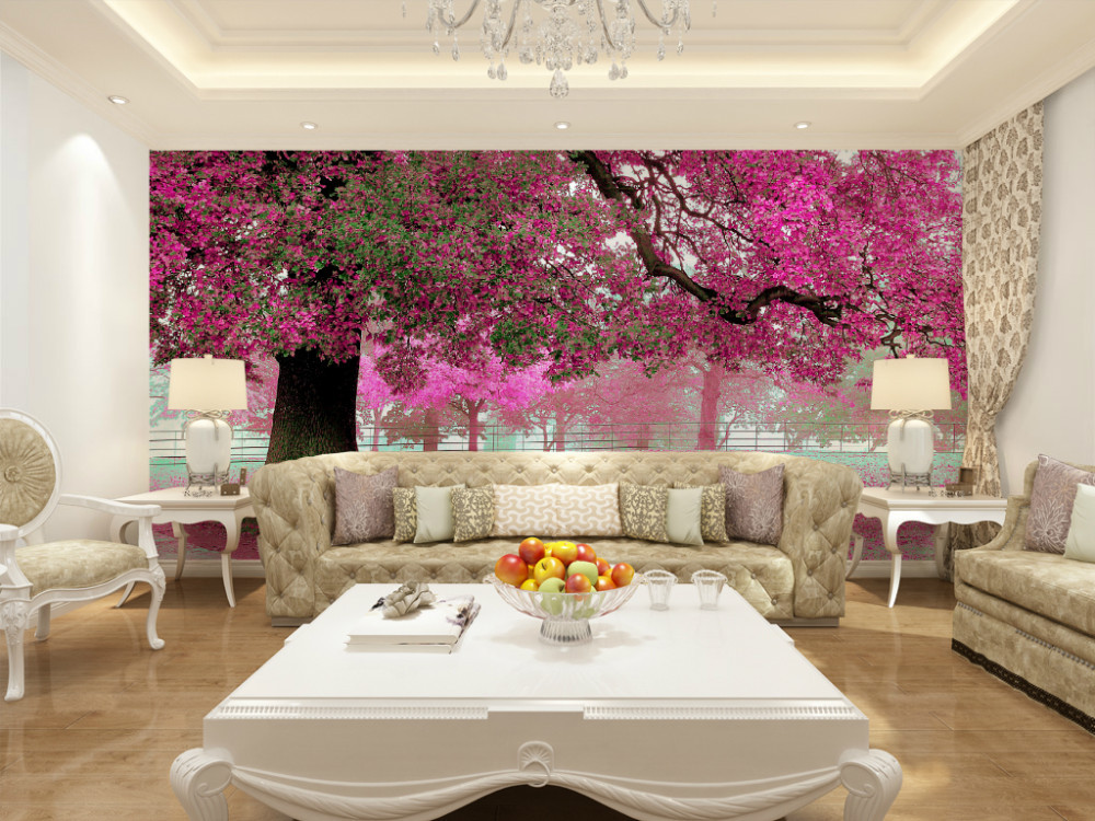 Eco friendly 3d huge mural pink flower full of the road for Pink living room wallpaper