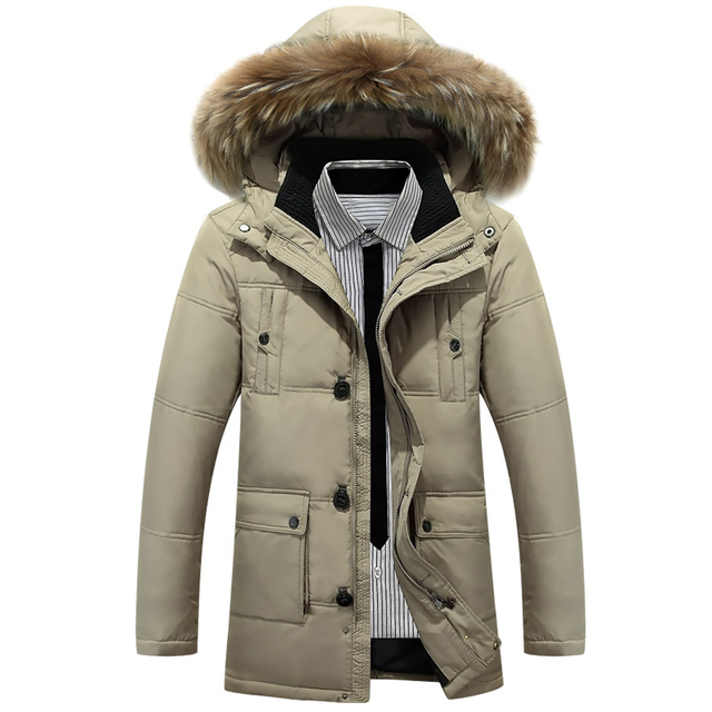 b94dafd868f4e Men s Clothing Winter Casual Solid Color Detachable Hooded Long Down Jackets  and Coats Warm Duck Down