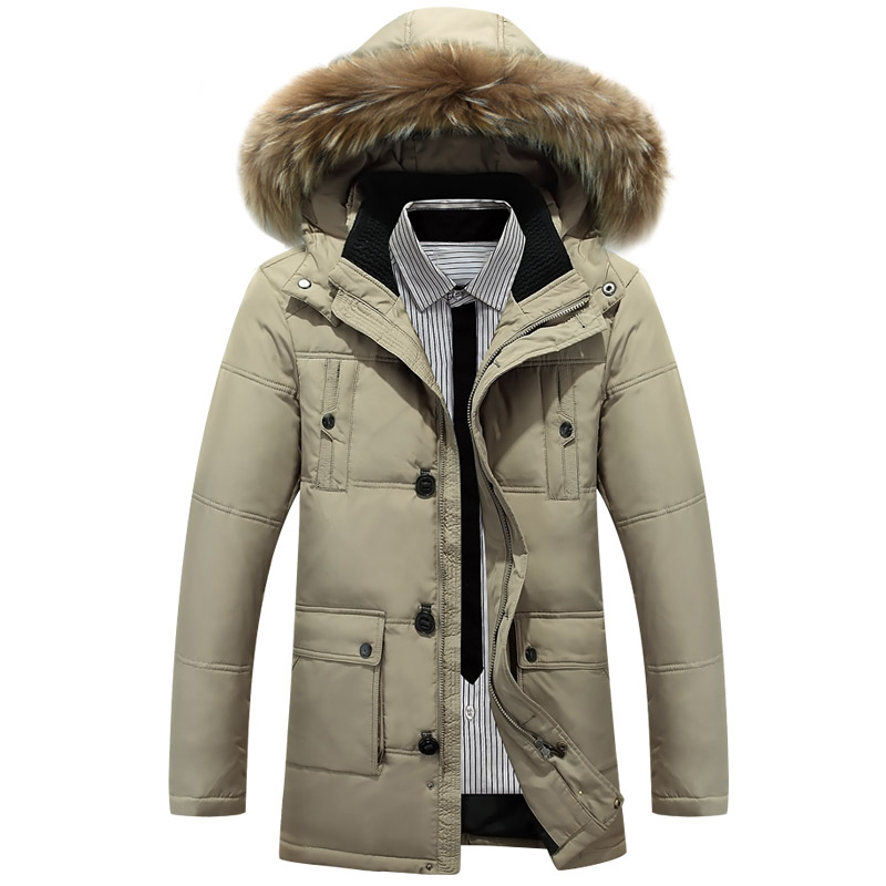 Mens Clothing Winter Casual Solid Color Detachable Hooded Long Down Jackets and Coats Warm Duck Down Jackets Zipper Coat 3XL ...