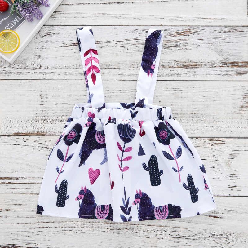 Одежда для маленьких девочек Черный боди с длинными рукавами + Милая юбка на подтяжках с принтом «Alpacas» и «кактус» комплекты из 2 предметов для маленьких девочек