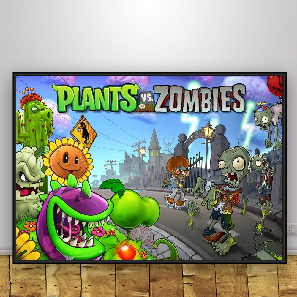 Plant Vs Zombies Art Silk Poster Home Decor 12x18 24x36inch