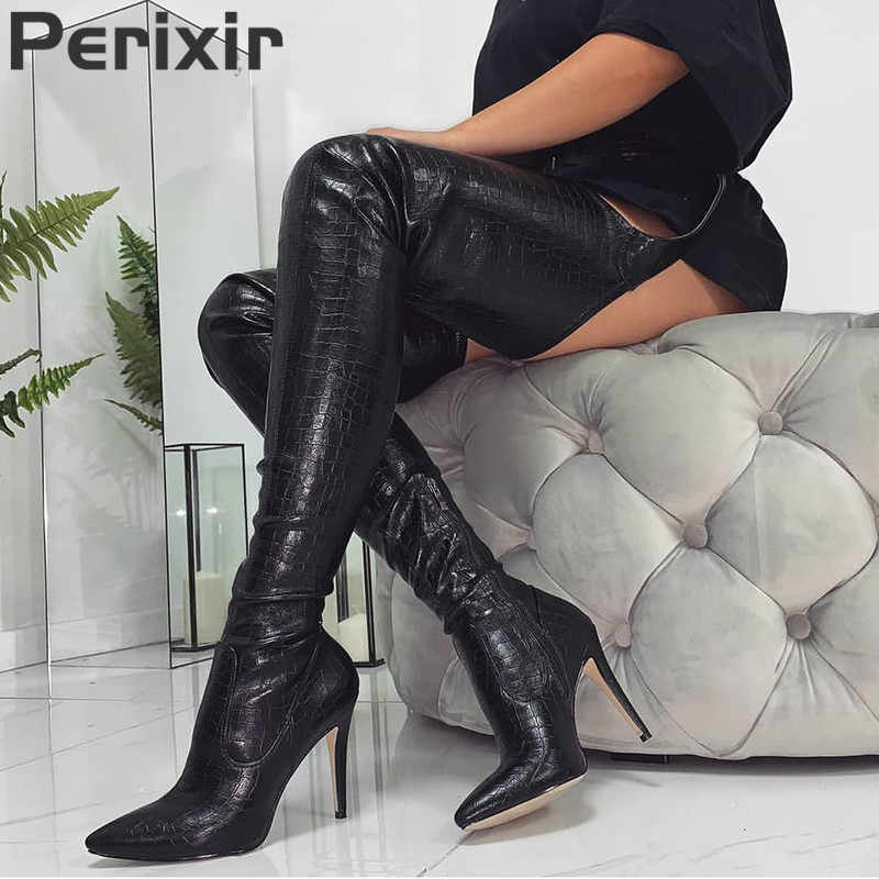 Perixir Nữ DA PU Giày Cao Gót Dài Đùi Cao Cấp Giày Rihanna Phong Cách Trên Đầu Gối Giày cho Nữ Giày Nữ Mũi Nhọn xếp ly Chắc Chắn