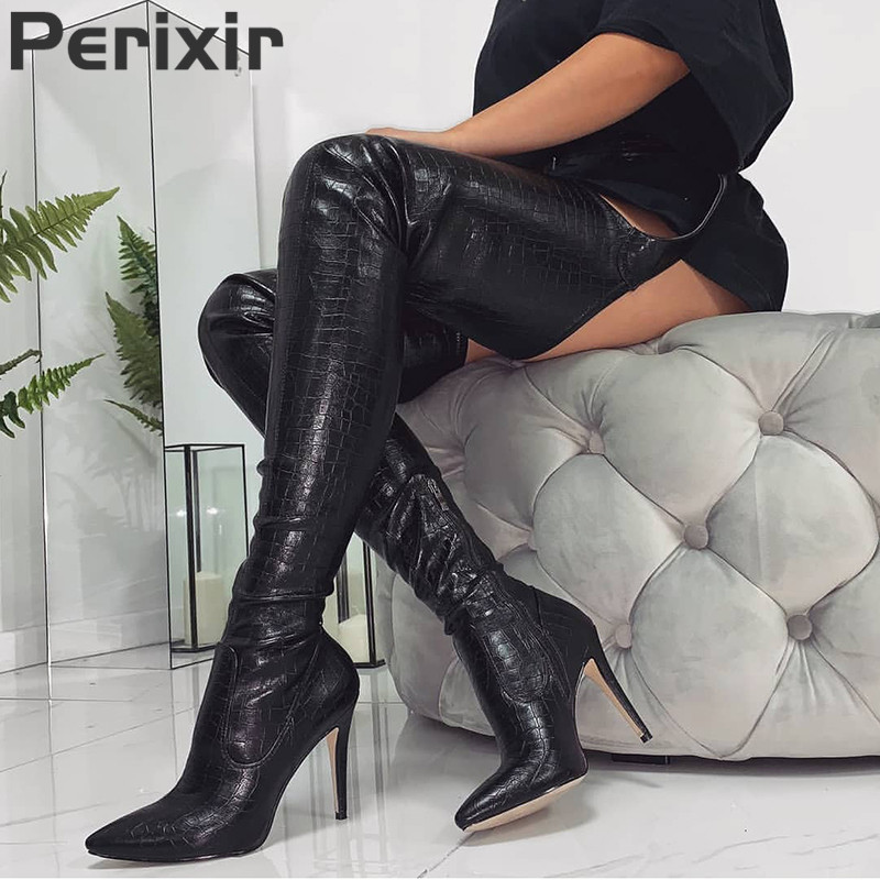Image 2 - Perixir PU Women High Heels Long Thigh High Boots Rihanna Style Over the Knee Boots for Women Shoes Pointed Toe Pleated Solid-in Over-the-Knee Boots from Shoes