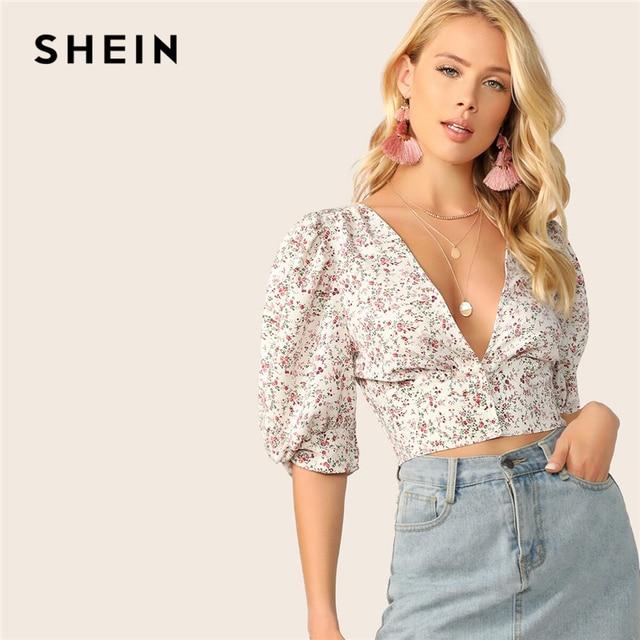 fd958e9faa Shoptagr   Shein Bohemian Retro Ditsy Floral Plunging Neck Buttoned ...