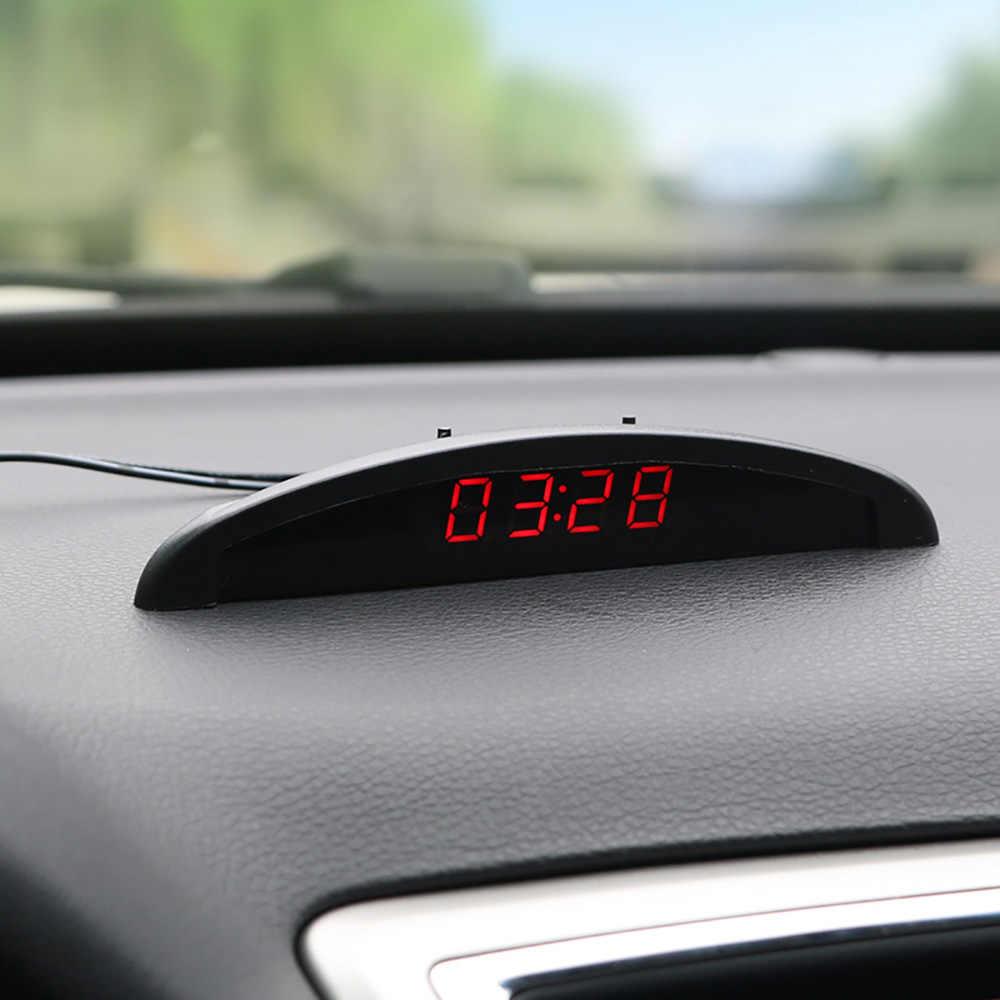Automobile Clock Thermometer Voltmeter Monitor Car Ornament 12V LED Digital Display Auto Interior Dashboard Decoration Ornaments