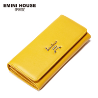 EMINI HOUSE New Simple Genuine Leather Long Women Wallets Zipper Hasp Card Holder Fold Coin Purse