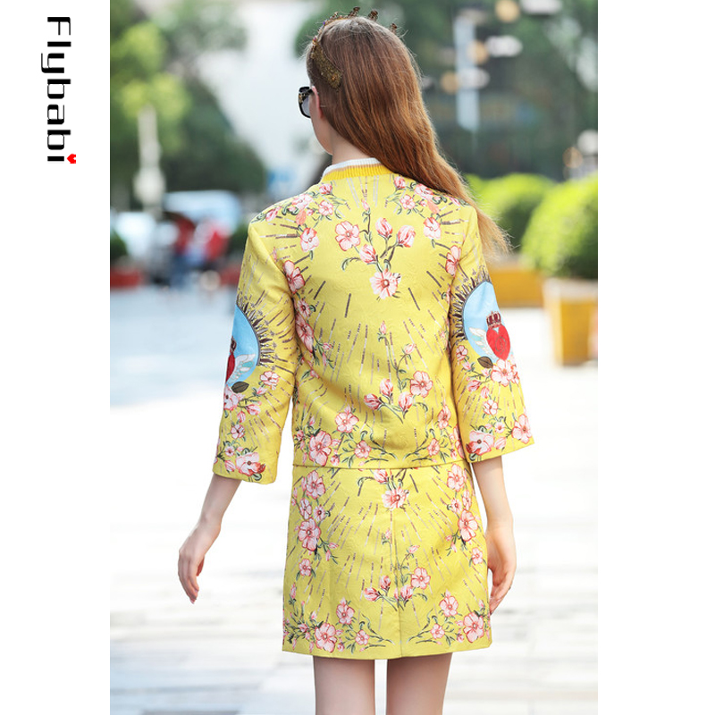 High Quality Sequined Jacquard Golden yellow Red heart print Button Fly short coat Above Knee, Mini Half skirt Women's Sets 2018 - 2