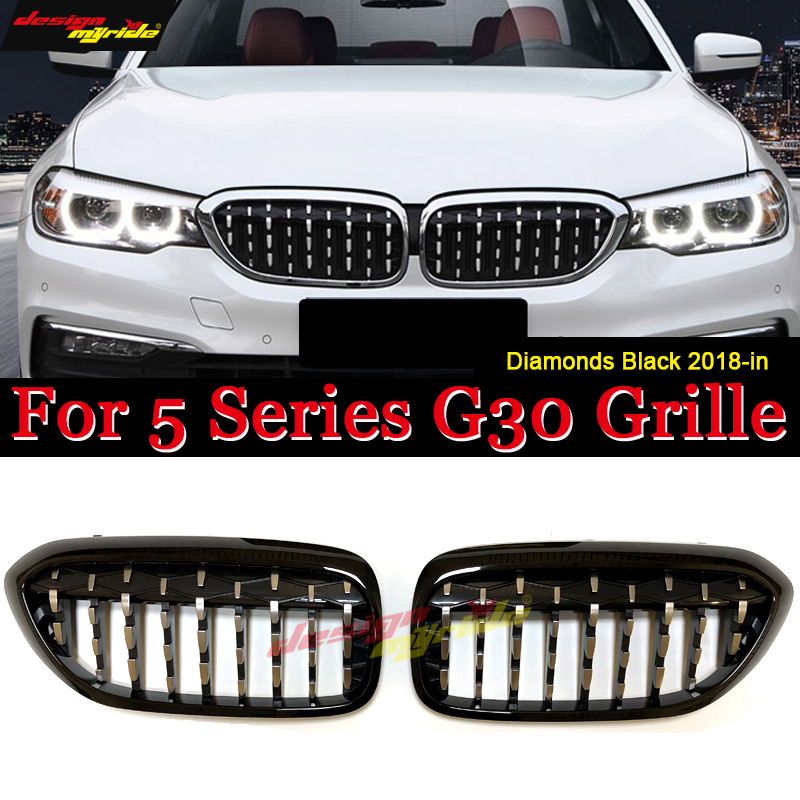 G30 Diamonds Front Grill Grille ABS Gloss Black 5-Series 520i 530i 535i 540i 540iXD 550i Meteor Style Kidney 18-in