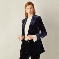 Female 2018 Gold velvet suit commuter green fruit collar pearl button velvet suit jacket female