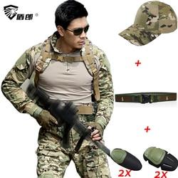Militair Uniform Tactical Combat Broek Met Kniebeschermers Tactico CPU Camouflage Kleding Militar Leger ACU Uniformen CS Kleding Mannen