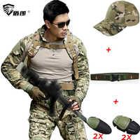 Uniforme militare Tattico Pantaloni Da Combattimento Con Ginocchiere Tactico CPU Abbigliamento Mimetico Militar Army ACU Uniformi CS Vestiti Degli Uomini